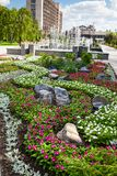 Flowerbed i fontanna na Pushkin bulwarze, Donetsk 2012 obrazy royalty free