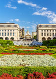 Flowerbed on Mont des Arts in Brussels Royalty Free Stock Photography