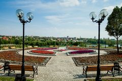 Flowerbed, urban park infrastructure royalty free stock photos