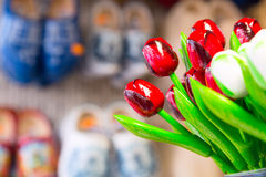 Flowerbed with red and yellow tulips, defocused Amsterdam houses Stock Image