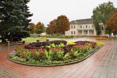 Flowerbed on square in Baranovichi. Belarus.  stock photos