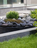 Flowerbed and stones, city Stock Images