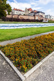 Flowerbed in Torun, Vistula riverside path, Poland. Stock Photo