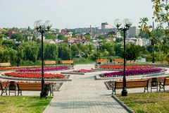 Flowerbed, urban park infrastructure royalty free stock images