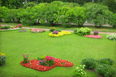 Flowerbeds. Blooming colorful flowerbeds in garden royalty free stock photo