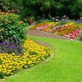flowerbeds no parque fotografia de stock