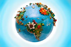 Flowered America Globe. South America Globe, with the flowers, made in plasticine Royalty Free Stock Photo