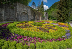 Flowered bed in Lillafured palace park Stock Images