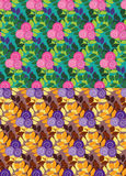 Flowered bushes seamless patterns Stock Photos