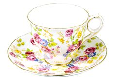 Flowered china tea cup Royalty Free Stock Photos
