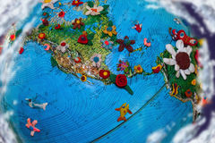 Flowered Earth North America. Flowered Earth in plasticine, North America from space royalty free stock image