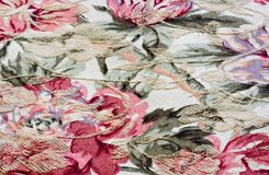Flowered fabric. Colorful flowered fabric from a bed cover Royalty Free Stock Images
