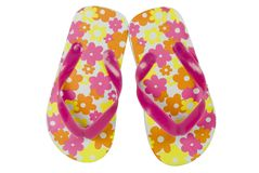 Flowered flip flops Royalty Free Stock Photos