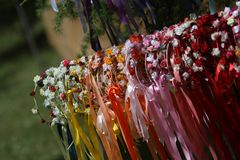 Flowered garlands. In celtic festival Royalty Free Stock Photo