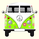 Flowered Hippie Van Royalty Free Stock Photos
