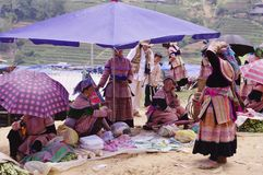 Flowered Hmong women's group. For the market day, women bring their best finery. Each suit is also a sign of recognition and belonging to a minority Stock Photography