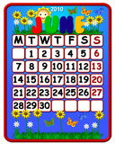 Flowered June 2010 calendar. Colorful flowered June 2010 calendar Royalty Free Stock Photography