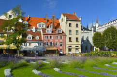 Flowered Livu square in the center of old Riga Stock Images