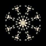 Flowered mandala with yin-yang. Flowered mandala yin-yang art spiritual meditation inspiration relaxing decor pattern vector illustration