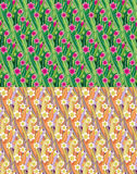 Flowered meadow seamless patterns Royalty Free Stock Images