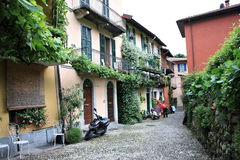Flowered street. Beautiful Flowered street, pescallo, italy Royalty Free Stock Images