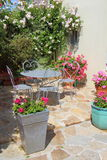 Flowered terrace with garden furniture. Flowered terrace with gray garden furniture and some flowerpots with geraniums in spring Stock Photos