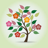 Flowered tree in fantasy style. Royalty Free Stock Images