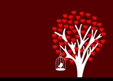 Flowered tree heart with bird Stock Images