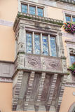 Flowered windows of Obernai townhall - Alsace Royalty Free Stock Photos