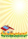 Flowerfield sun house Stock Photography