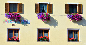 Flowering balconies Royalty Free Stock Photography