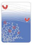 Flowering bush and stylized birds Royalty Free Stock Photos