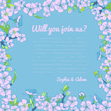 Flowering hand drown cherry blossom card. Vintage background Royalty Free Stock Photography