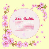 Flowering hand drown cherry blossom card. Vintage background Stock Photos