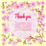 Flowering hand drown cherry blossom card. Vintage background Royalty Free Stock Images