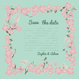 Flowering hand drown cherry blossom card. Vintage background Stock Photo