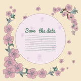Flowering hand drown cherry blossom card. Vintage background Stock Image