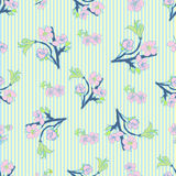 Flowering hand drown cherry blossom seamless. Vintage background Royalty Free Stock Photo