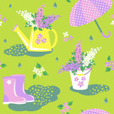 Flowering lilac seamless pattern Stock Images