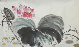 The lotus symbol of eternity. Flowering lotus painted in Chinese style Royalty Free Stock Photos