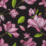 Flowering magnolia, pink color on dark background. Hand drawn colorful seamless pattern with blooming flowers. Vector Stock Photo