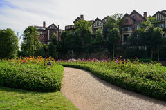 Flowering pavement before European-style houses in sunny autumn Stock Photography