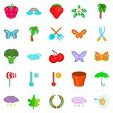 Flowering plant icons set, cartoon style. Flowering plant icons set. Cartoon set of 25 flowering plant vector icons for web isolated on white background Royalty Free Stock Image