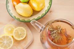 Flowering tea and citrus. Flowering green tea and citrus stock photos