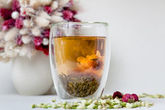 Flowering Tea and Dry Flowers stock images