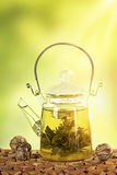 Flowering tea in a teapot Stock Image