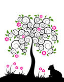 Flowering tree and goatling Royalty Free Stock Images
