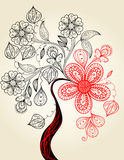 Flowering tree hand drawing illustration Stock Images