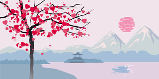 Flowering tree with hearts on the background of the Chinese seascape landscape Royalty Free Stock Photos