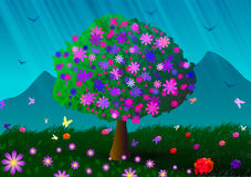 Flowering tree, mountains and flowers. Royalty Free Stock Image